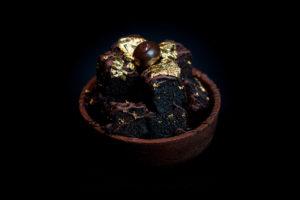 Chocolate Browine Tart With 24K Edible Gold Leaf